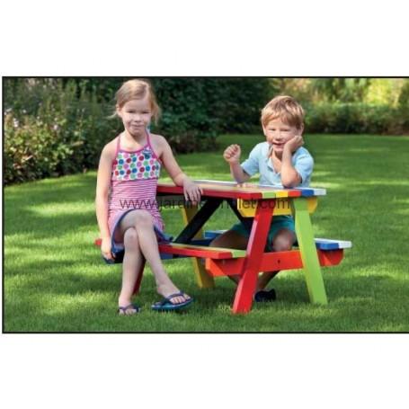 Table de pique-nique pour enfant Bois dur aux couleurs vives