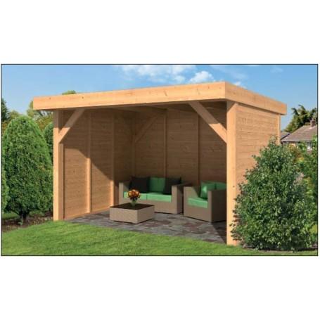 Remise OMMEN 400x400cm toit plat en mélèze douglas
