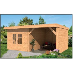 abri de jardin toit plat en mélèze douglas