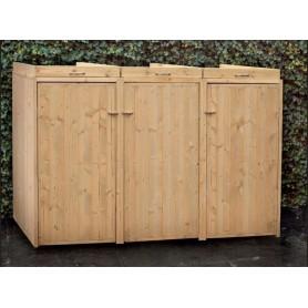 Cache poubelle triple en bois