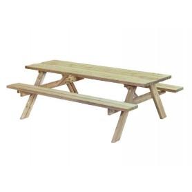Table de picnic ronde en bois avec bancs sapin impregne ...