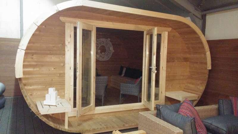 chalet de jardin ovale sauna exterieur