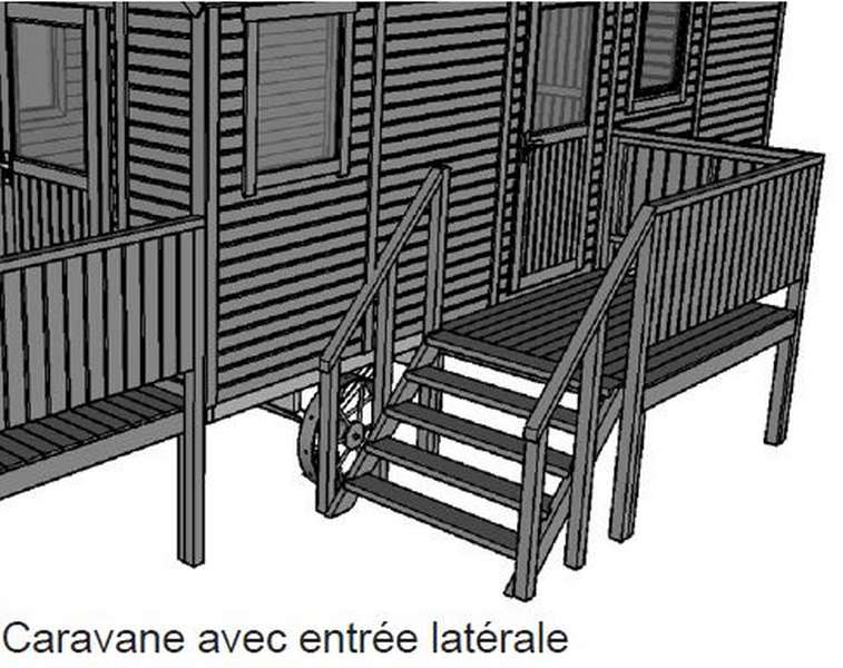fabricant de roulotte en bois avec terrasse latérale