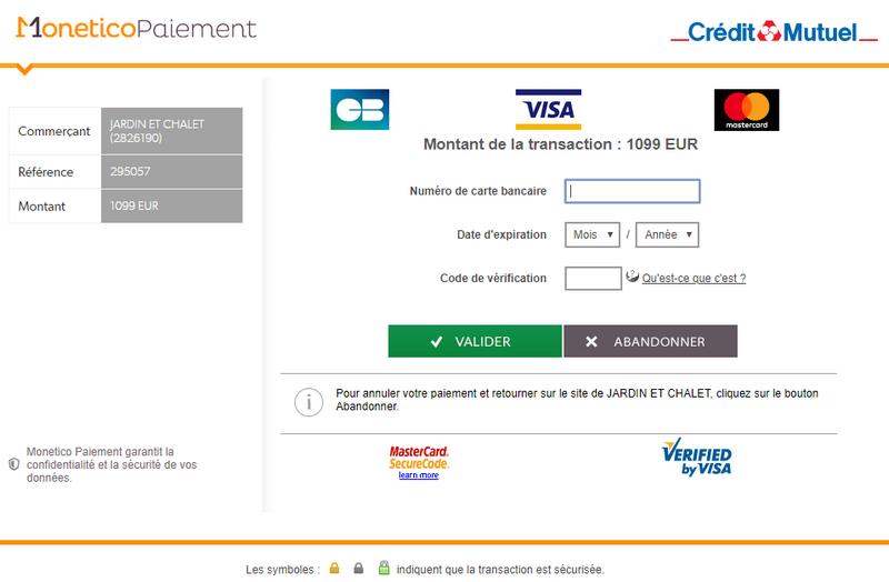 chalet de jardin - moyen de paiement carte bancaire